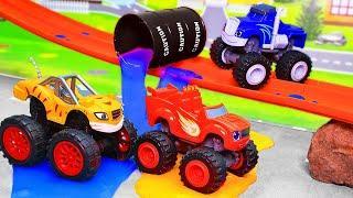 Вспыш и чудо машинки и монстр трак HOT WHEELS Мультик про машинки Монстр траки – игрушки для детей
