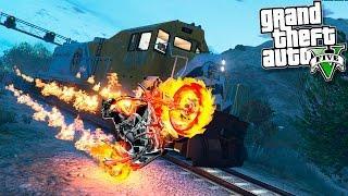 GTA 5 Моды: ПРИЗРАЧНЫЙ ГОНЩИК! - Призрачный Гонщик против Поезда!!!